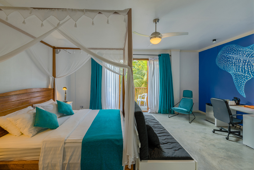 Boutique Beach Maldives Deluxe Double with Four poster Bed