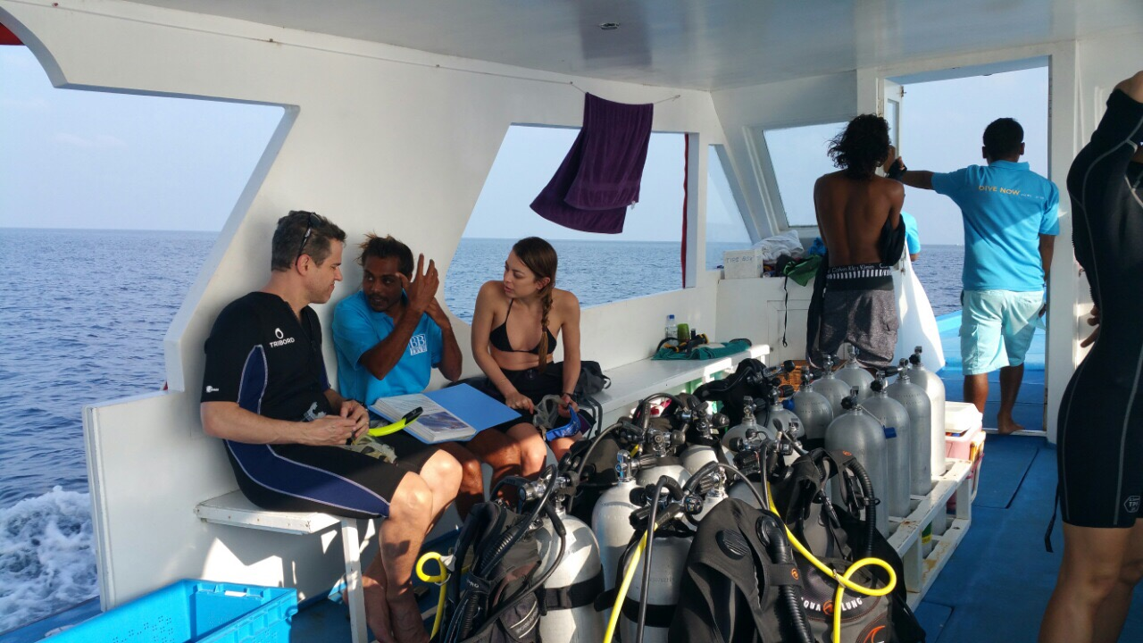 Boutique Beach Maldives Guests onboard the Dive Board